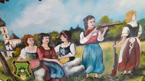 Schützenscheibe zur Erinnerung an die ersten aufgenommenen Frauen in der Schützengesellschaft Immergrün Unterföhring